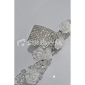 Silk Blooms Ltd White Foam Rose Artificial Wrist Corsage with Crystal Detailing and Bracelet 4