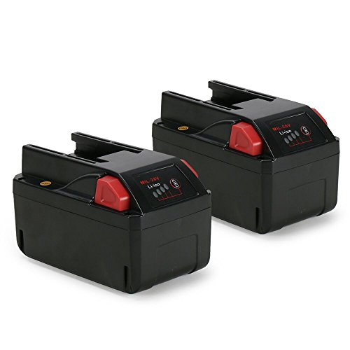 POWERAXIS 2-Pack Milwaukee 48-11-2830 M28 V28 Lithium-Ion Replacement Battery-Pack 3.0Ah with LED Fuel Gauge - 28v Battery