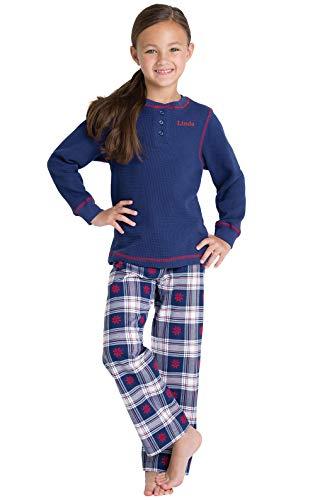 PajamaGram Personalized Long Sleeve Flannel Plaid Pajamas, Blue, Big Girls' 6