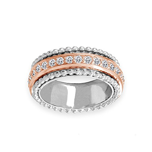 Two-Tone Rose Gold Flashed Sterling Silver Cubic Zirconia Round Polished Spinner Band Ring, Size 9