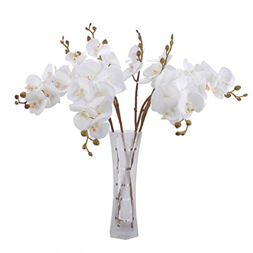 Bomarolan Artificial Butterfly Orchid Real Touch Faux Phalaenopsis Double Branch Silk Flowers 3D Printing Technology 4 Pcs for Wedding Home Party Hotel Decoration(White)
