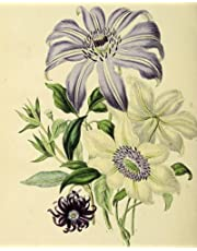 """Vintage Art Purple & White Clematis Themed Journal: Composition Notebook Diary 200 pages (8"""" x 10"""")"""