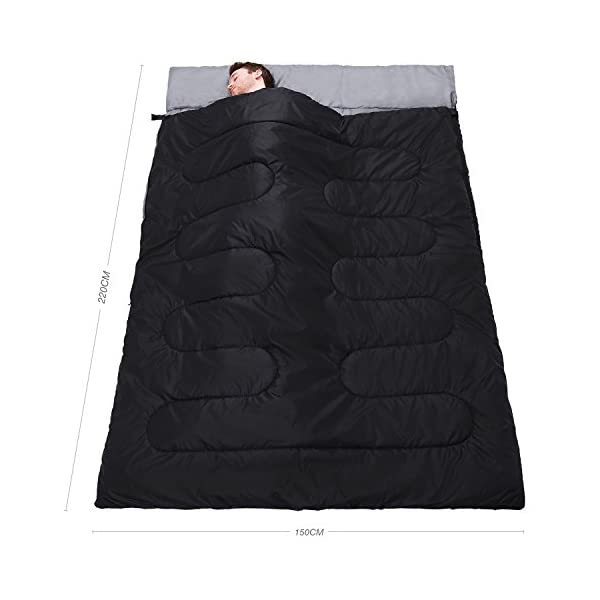 Active Era Double Sleeping Bag - Water Resistant and Lightweight Queen Size with 2 Pillows & Compression Bag, Converts into 2 Singles - 3 Seasons 32F, Perfect for Camping, Hiking, Outdoors & Travel 6