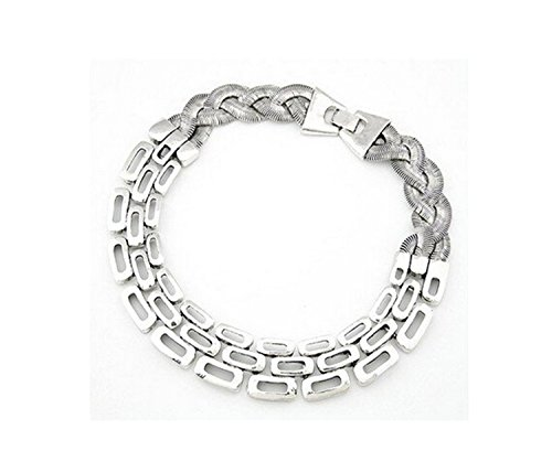 Retro Heavy Metal Flat Chunky Snake Great Wall Link Chain Choker Necklace-silver color
