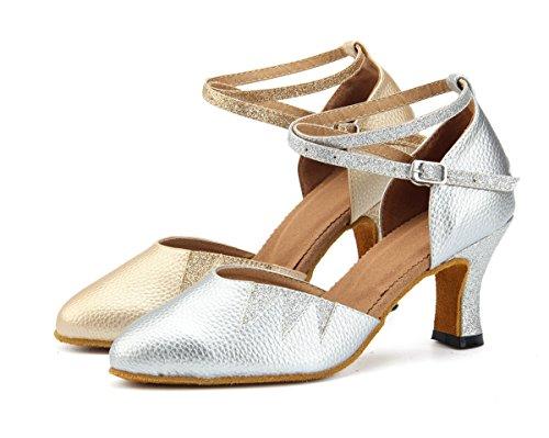Heel Silver Miyoopark Zapatillas Para 7cm Danza De Mujer 7xvq0Hx