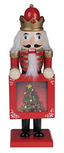 "Traditional Nutcracker King by Clever Creations | Collectible Wooden Christmas Nutcracker | Festive Holiday Decor | Red and Gold Uniform | Holding Red Frame with Christmas Tree | 100% Wood | 9"" Tall"