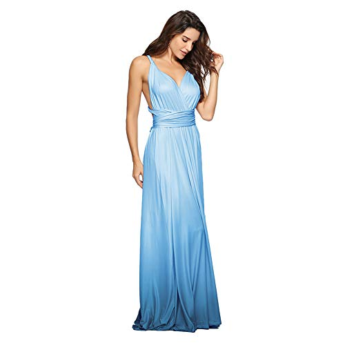 Women's Transformer Infinity Gradient Color Deep- V Neck Convertible Wrap Multi Way Dress Sleeveless Halter Formal Wedding Party Floor Length Cocktail Gown Long Maxi Dress Gradient Blue Large