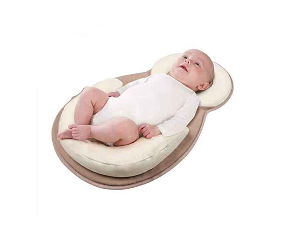 Premium Newborn Lounger Anti-Rollover Baby Positioning Pillow Portable Cotton Breathable Baby Bed Mattress Flat Head Prevention (Beige) by Ever TA