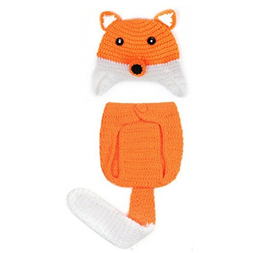 Kitron TM (Yellow&White) Cute Unisex Newborn Boy Girl Crochet Knitted Small Fox Style Baby Outfits Costume Set Photography Photo Prop