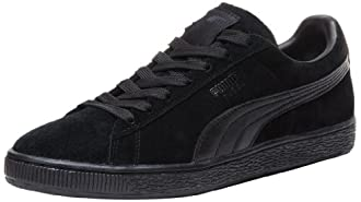 PUMA Suede Classic Leather Formstrip Sneaker,Black/Black,10 D(M) US