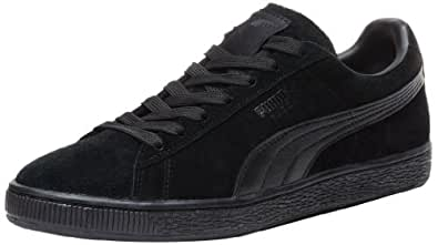 PUMA Suede Classic Leather Formstrip Sneaker,Black/Black,4.5 D(M) US