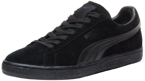 PUMA Suede Classic Leather Formstrip Sneaker,Black/Black,12 D(M) US