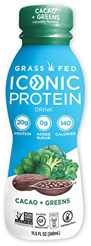 Iconic Protein Drinks, Cacao + Greens (12 Pack) | Grass Fed Protein Shakes with Organic Veggies & Unroasted Cacao | Low Carb Superfood Drink | Lactose Free, Gluten Free, Soy Free | Keto Friendly
