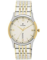 Titan Mens Contemporary Chronograph/ Multi Function,Work Wear,Gold/Silver Metal/Leather Strap, Mineral Crystal...