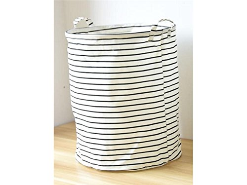 Hezon Home Collapsible Round Laundry Basket Hamper Storage Bag (Black Thin Stripes) EASY TO USE
