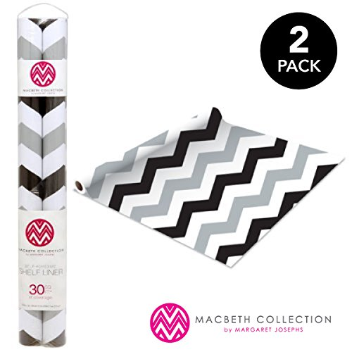 Self Adhesive Shelf Liner - 2 Pack - Rugby Chevron Midnight - 30 Square feet