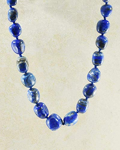 - SIVALYA Navy Blue Lapis Lazuli Large Crystals Necklace with Silver Clasp - Genuine Chunky Natural Stones