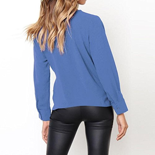 Lache OL Bow Dames Tops Longues Bleu Femmes Mousseline Trydoit Blouse Casual Chemise Tie Manches Femme qIzZW4BAw
