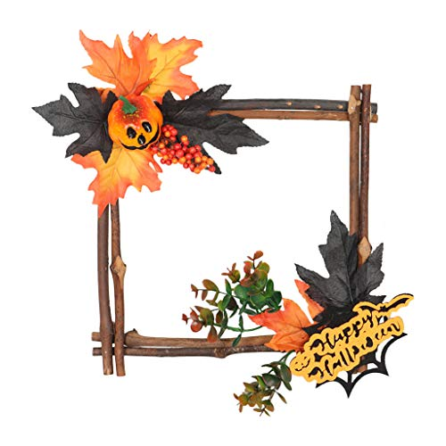 Unionm Wooden Autumn Maple Leaf Pumpkin Berry Wreath Hanging Ornament DIY Decoration Supplies Halloween Props Haunted House Decoration for Yard Outdoor Indoor Party Bar Home Decor (Square)