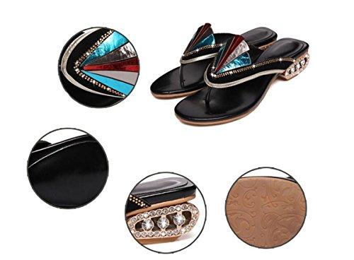 PBXP Flip-Flops OL Spell Colour Upper Chunky Strass Decorazioni Low Heel Outsoles antiscivolo Scarpe casual eleganti traspiranti comode Dimensioni UE 34-39 , blue , 38