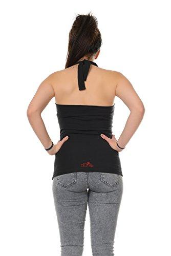 cuello con estampado camisa Negro Elves mangas sin 3elfen Rojo Punk Mujer sin Top Verano halter espalda Triangl pfwSXYzSq