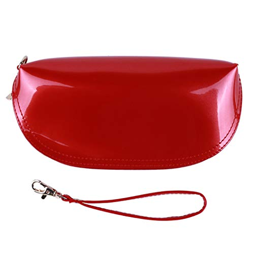 LZIYAN Women Wallet Glittering Patent Leather Long Clutch Purse Cute Solid Color Waterproof Wristlet Cosmetic Bag with Strap,Red