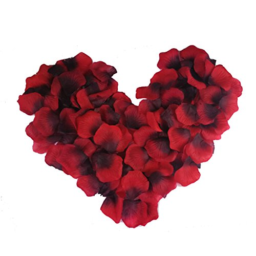 (Rose Petals, EROSWAY 1000 pcs Artificial Roses Flower Confetti for Wedding Bridal Party Table Girl Shower Hotel Decoration. 2 Inch Silk Flower Petals Dark Red)