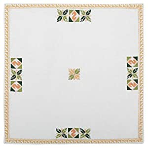 Turathna Cotton Handmade Cross Stitch Table Center Piece - Green And Orange