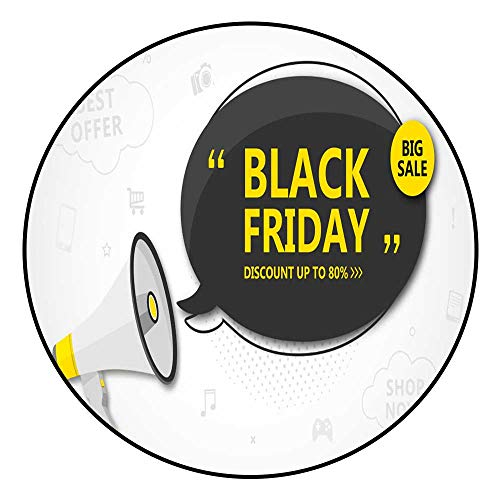 Hua Wu Chou Round Exercise matround BBQ Grill mat D4'2/1.3m Shopping Poster Seasonal Banner Black Speech Bubble with Lettering and -