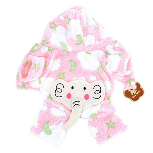 Ranphy Dog Cat Fleece Dog Pajamas Elephant Print Puppy Velvet Outfits Hoodie Chihuahua Clothes Pet Halloween Costume Doggy Jumpsuit Pink S