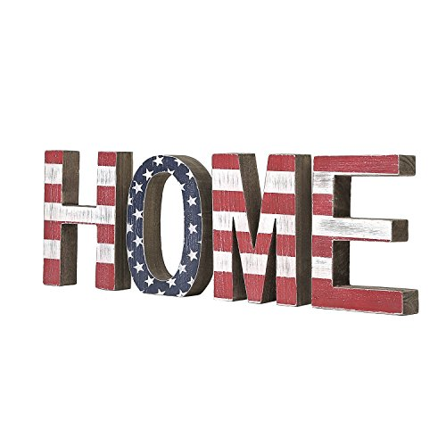 Rustic Americana Decor (Distressed Wood American Flag Design Freestanding HOME Sign, Patriotic Wooden Cutout Block Letters)