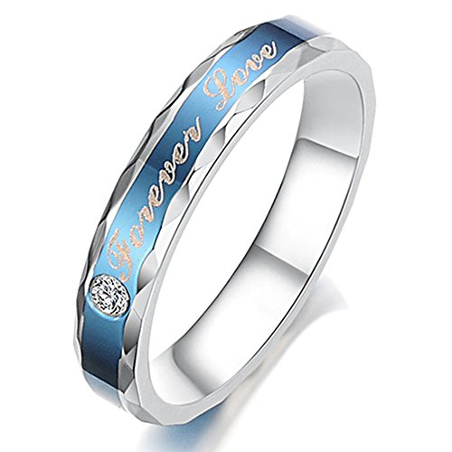 Forever Love Ring (Women - Size 5 - KONOV Stainless Steel CZ Forever Love Couples Promise Ring Wedding Band, Blue)