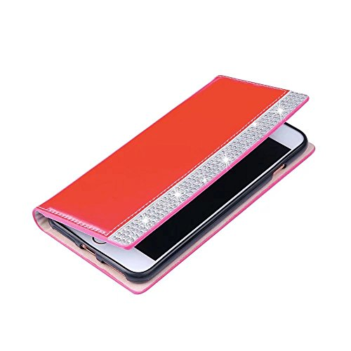 IPhone 6S Funda,QianYang PU Leather Cuero Cover para IPhone 6S / iPhone 6 Flip Case Magnético Función de Soporte Cuero Carcasa Rhinestone-6
