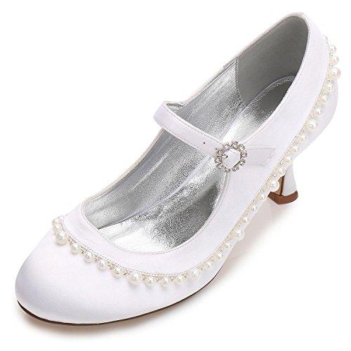 L@YC Women's Wedding Shoes F17061-62 Rhinestone Sparkling Wedding & Pump Stretch Satin Evening Gown Office White JfK1QUR