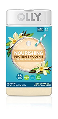 OLLY Nourishing Protein Powder, 18g Plant-Based Protein, Velvet Vanilla, 23.7oz (15 Servings)