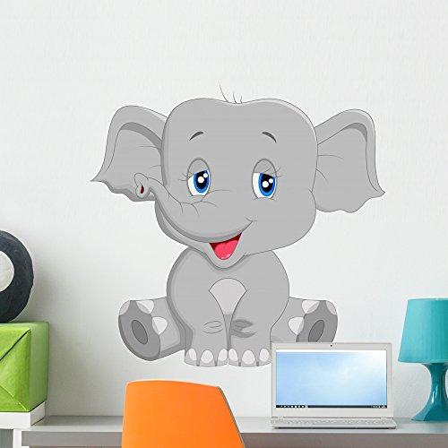 Wallmonkeys Cute Baby Elephant Cartoon Wall Decal, 24