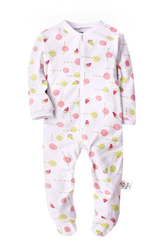 Baby Girls Footed Pajama - Zip Front 100% Cotton Pink Dots Sleeper 12 Months Sleep and Play