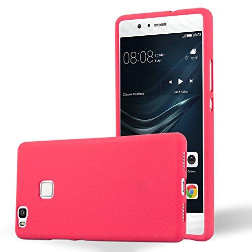 Cadorabo - Cubierta protectora para Huawei P9 LITE de silicona TPU en diseño Escarcha �?Case Cover Funda Carcasa Protección en FROST-NEGRO FROST-ROJO