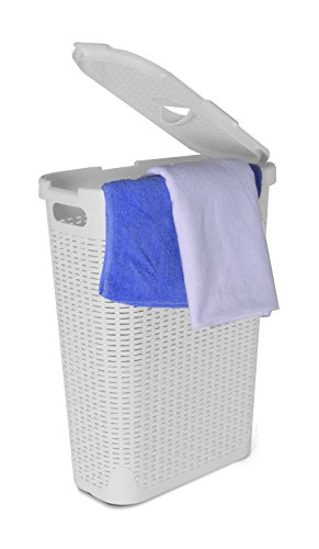 Superio Palm Luxe Laundry Hamper, 1.15 Bushel, White (Hamper White)