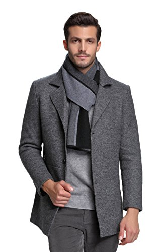 RIONA Men's 100% Australian Merino Wool Scarf Knitted Soft Warm Neckwear with Gift Box (Black)