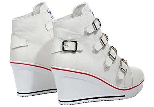 Wedges Canvas Schoenen Dames, Casual Platform Sneakers Gymschoenen Hasp 4 Kleuren Wit