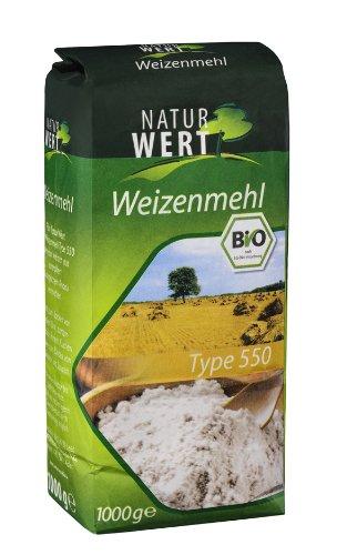 Naturwert Bio Weizenmehl Typ 550, 10er Pack (10 x 1000 g Packung) - Bio