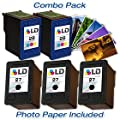 LD Remanufactured Ink Cartridge Replacements for HP C8727AN (HP 27) Black and HP C8728AN (HP 28) Color (3 Black and 2 Color) + Free 20 Pack of Brand 4x6 Photo Paper