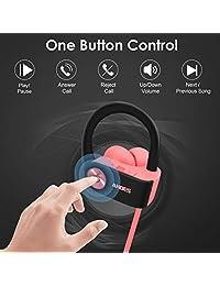 Anbes - Auriculares inalámbricos con Bluetooth, IPX7, impermeables, deportivos, con ganchos para los oídos y micrófono, HD, estéreo, para entrenamiento, 8 horas de batería, cancelación de ruido