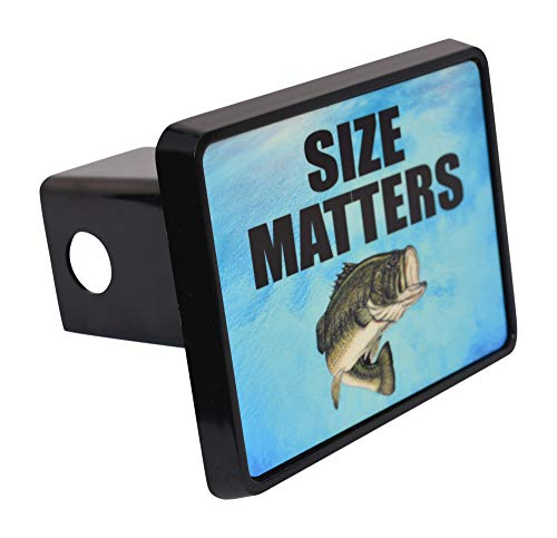Rogue River Tactical Funny Fishing Size Matters Trailer Hitch Cover Plug Fish Bass Gift for Fisherman ()