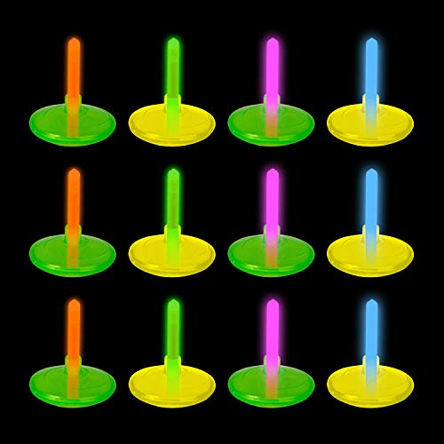 Glow in the Dark Party Spin Top Glow Sticks - Cool Party Favors, Easter Egg Fillers - 12 Pack ()
