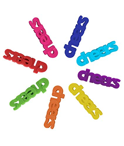 Wine Glass Charms 8 Silicone Cheers Drink Markers or Tags for $<!--$7.99-->