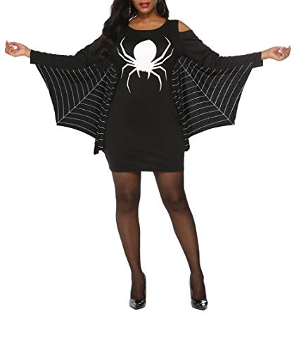 Normal Halloween Costume Ideas (Grace's Secret Halloween Costumes for Women Plus Size, Spiderweb Dress Jersey Cosplay Tunic Dress Black)