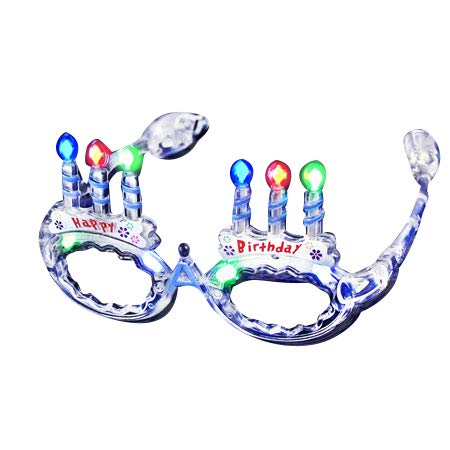 Mammoth Sales LED Flashing Light Up Happy Birthday Cake Party Glasses Shades (Multi Color)