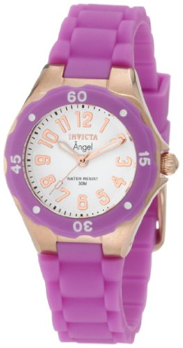 Invicta Women's 1623 Angel White Dial Lavender Silicone Watch